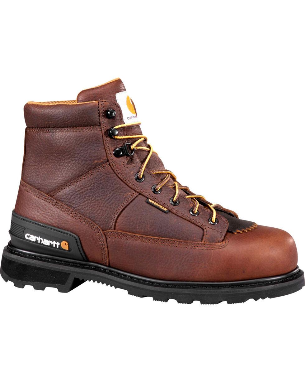 """Carhartt Men's 6"""" Waterproof Kiltie Work Boots - Round Toe, Camel, hi-res"""
