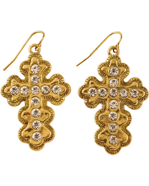 Shyanne Women's Gold Toned Bling Cross Earrings, Gold, hi-res
