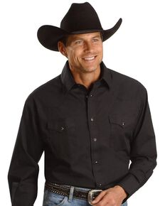 Wrangler Men's White Solid Long Sleeve Western Shirt - Big & Tall, Black, hi-res