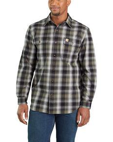 Carhartt Men's Black Hubbard Flannel Long Sleeve Work Shirt , Black, hi-res
