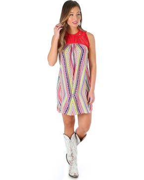 Wrangler Women's Sleeveless A Line Dress with Geometric Print, Fuscia, hi-res