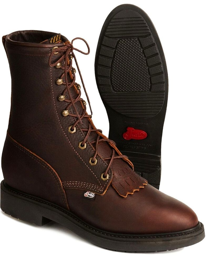 """Justin Men's Conductor 8"""" Lace-Up Work Boots - Steel Toe, Tobacco, hi-res"""