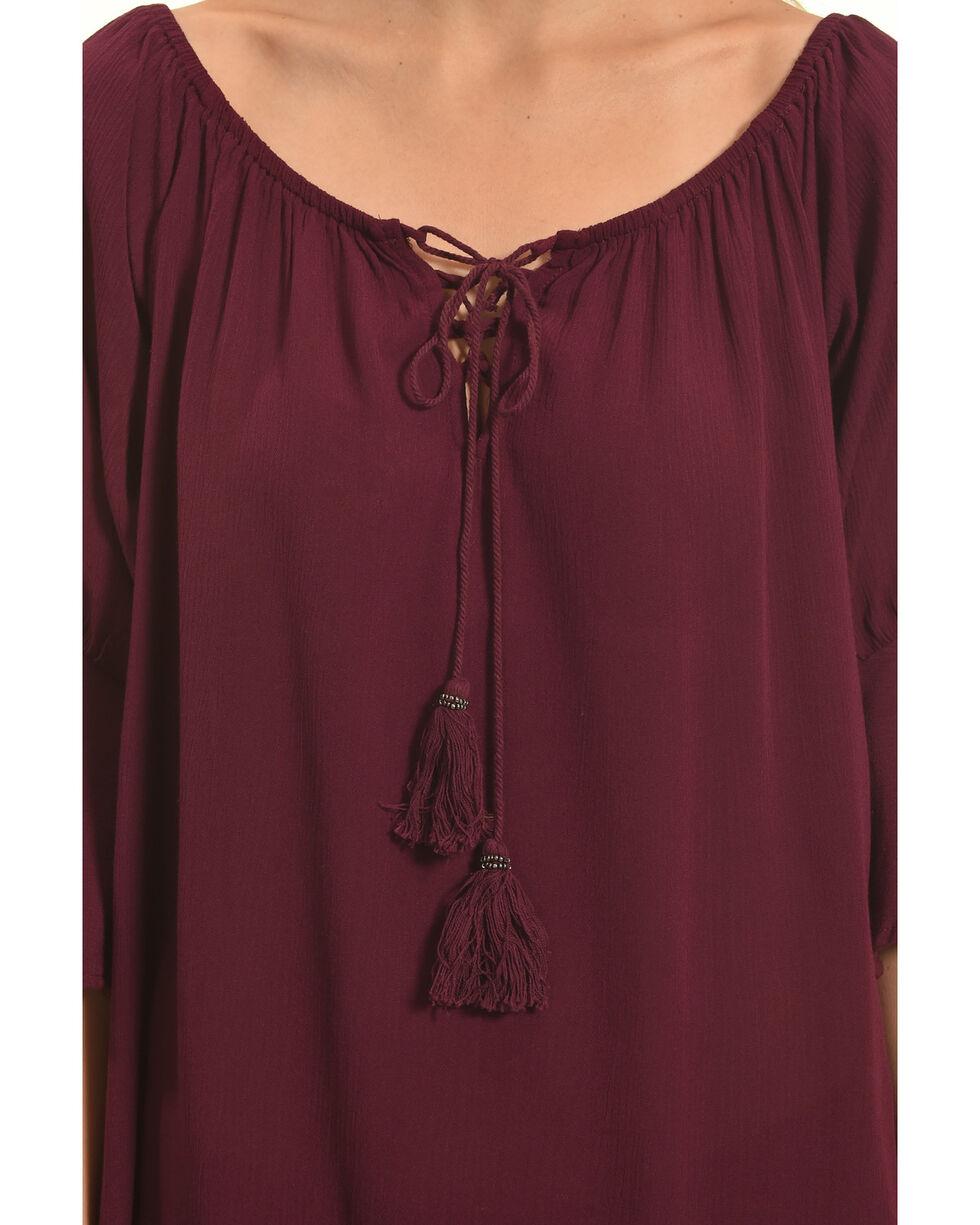 Luna Chix Women's Burgundy Tassel Off The Shoulder Top, Burgundy, hi-res