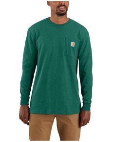 Carhartt Men's Heather Green Antler Logo Graphic Heavyweight Long Sleeve Work Pocket T-Shirt - Tall , Green, hi-res