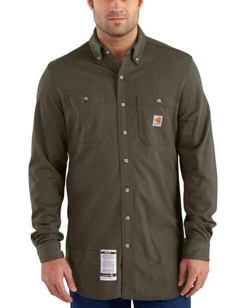 Carhartt Men's Moss Flame-Resistant Force Cotton Hybrid Shirt - Big & Tall , Moss, hi-res