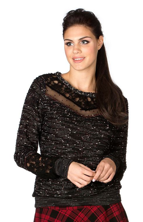 Miss Me Lace Trim Striped Boucle Sweater, Black, hi-res