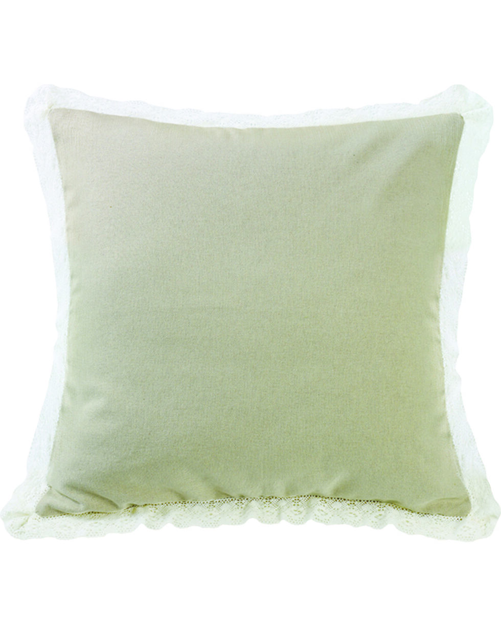 HiEnd Accents Cream Tan Burlap with Off-White Lace Trim Square Pillow, Cream, hi-res