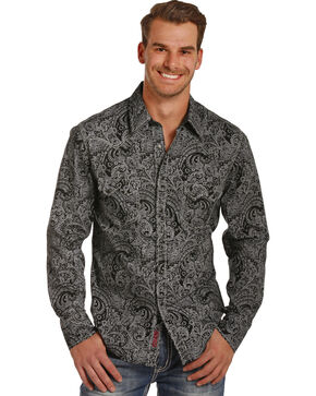 Rock & Roll Cowboy Men's Black Paisley Print Shirt , Black, hi-res