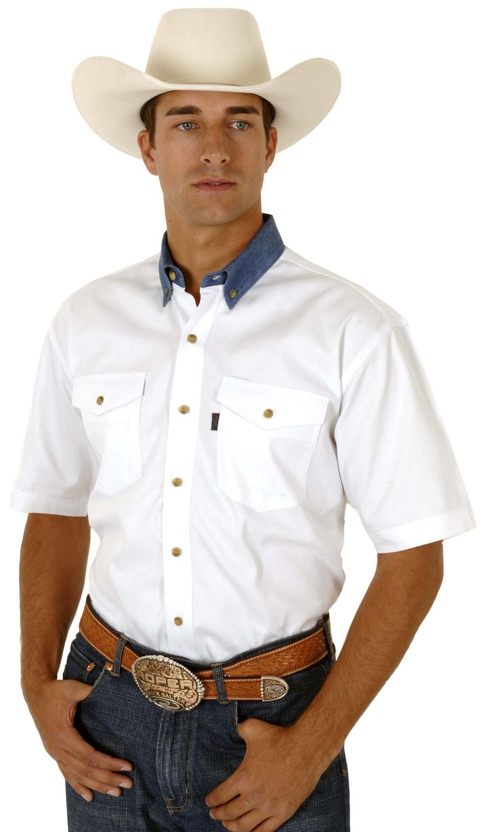 Roper Men's White Twill With Denim Collar Western Shirt, White, hi-res