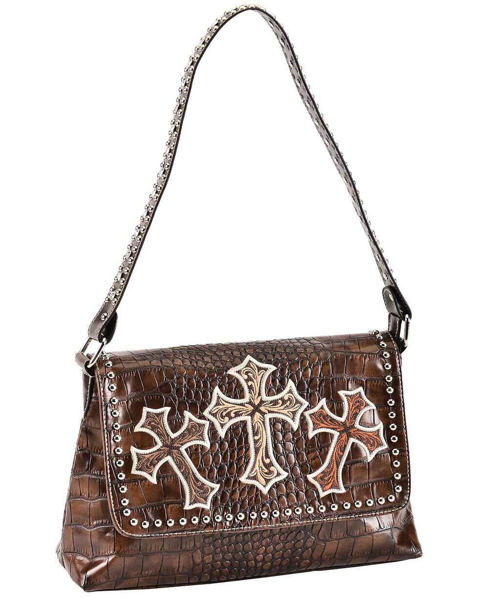 Blazin Roxx Three Cross Croc Print Shoulder Handbag, Brown, hi-res