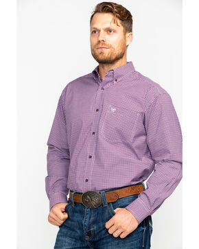 Ariat Men's Doug Stretch Performance Print Long Sleeve Western Shirt , Purple, hi-res