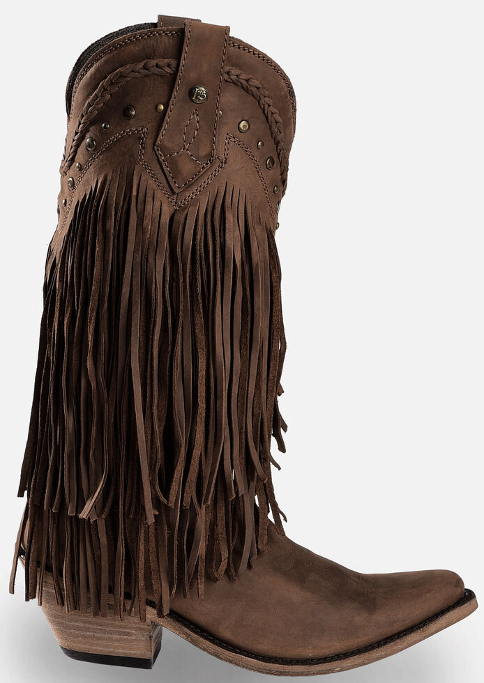 Liberty Black Vegas Fringe Boots - Pointed Toe, Dark Brown, hi-res