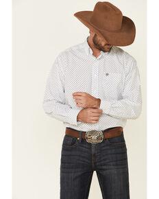 Ariat Men's White Calistoga Geo Print Long Sleeve Western Shirt , White, hi-res