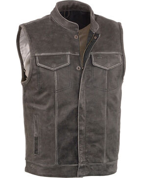 Milwaukee Leather Men's Grey Open Neck Club Style Concealed Vest , Grey, hi-res