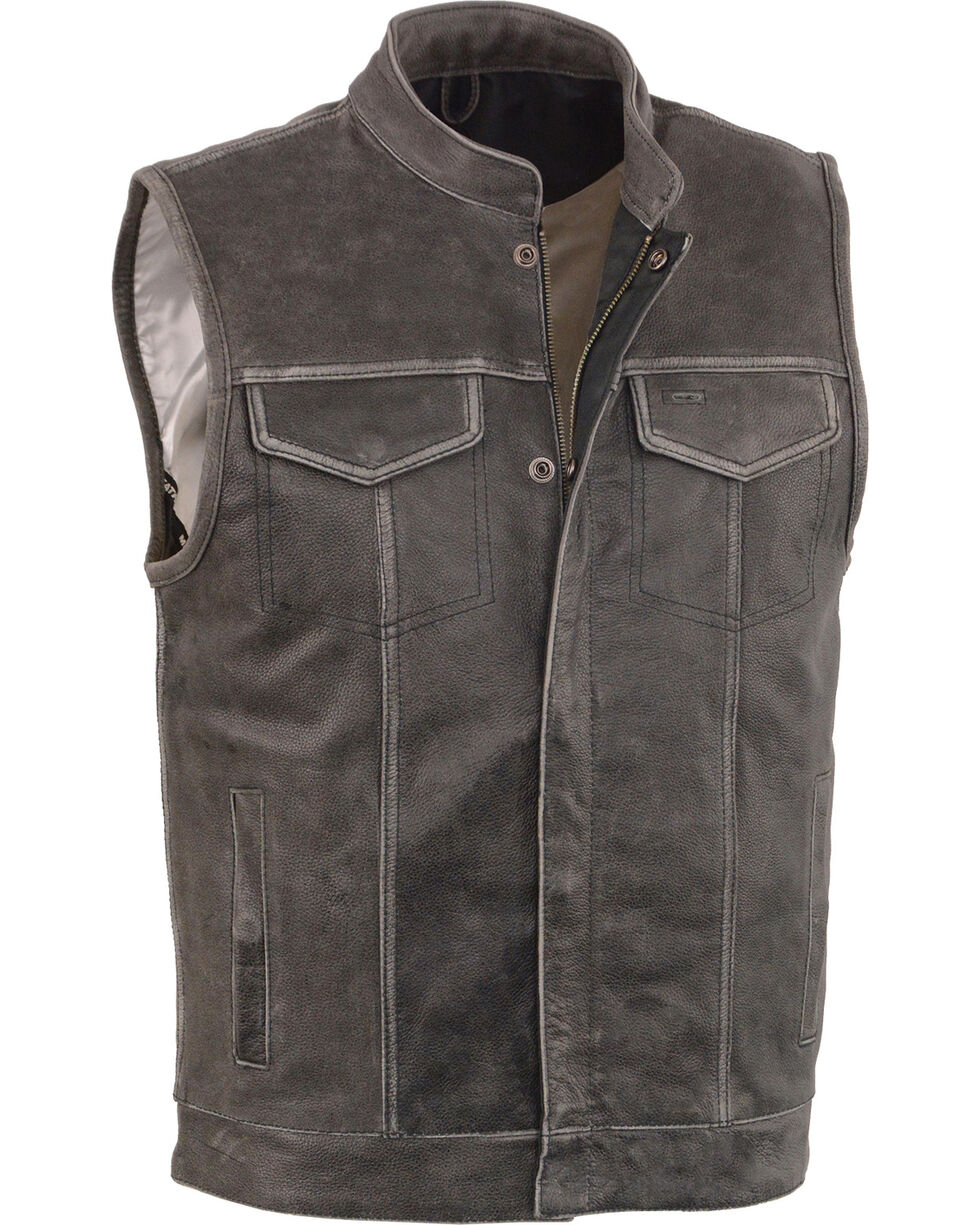 Milwaukee Leather Men's Grey Open Neck Club Style Concealed Vest - 4X, Grey, hi-res