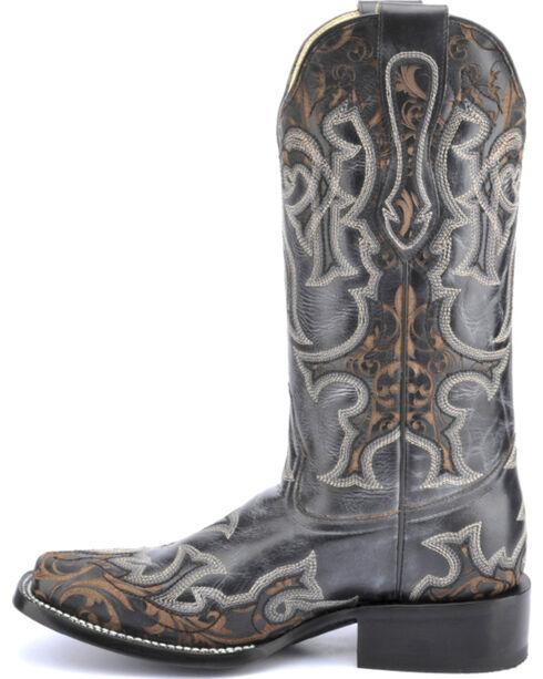 Corral Vintage Black & Brown Laser Cowgirl Boots - Square Toe , Black, hi-res