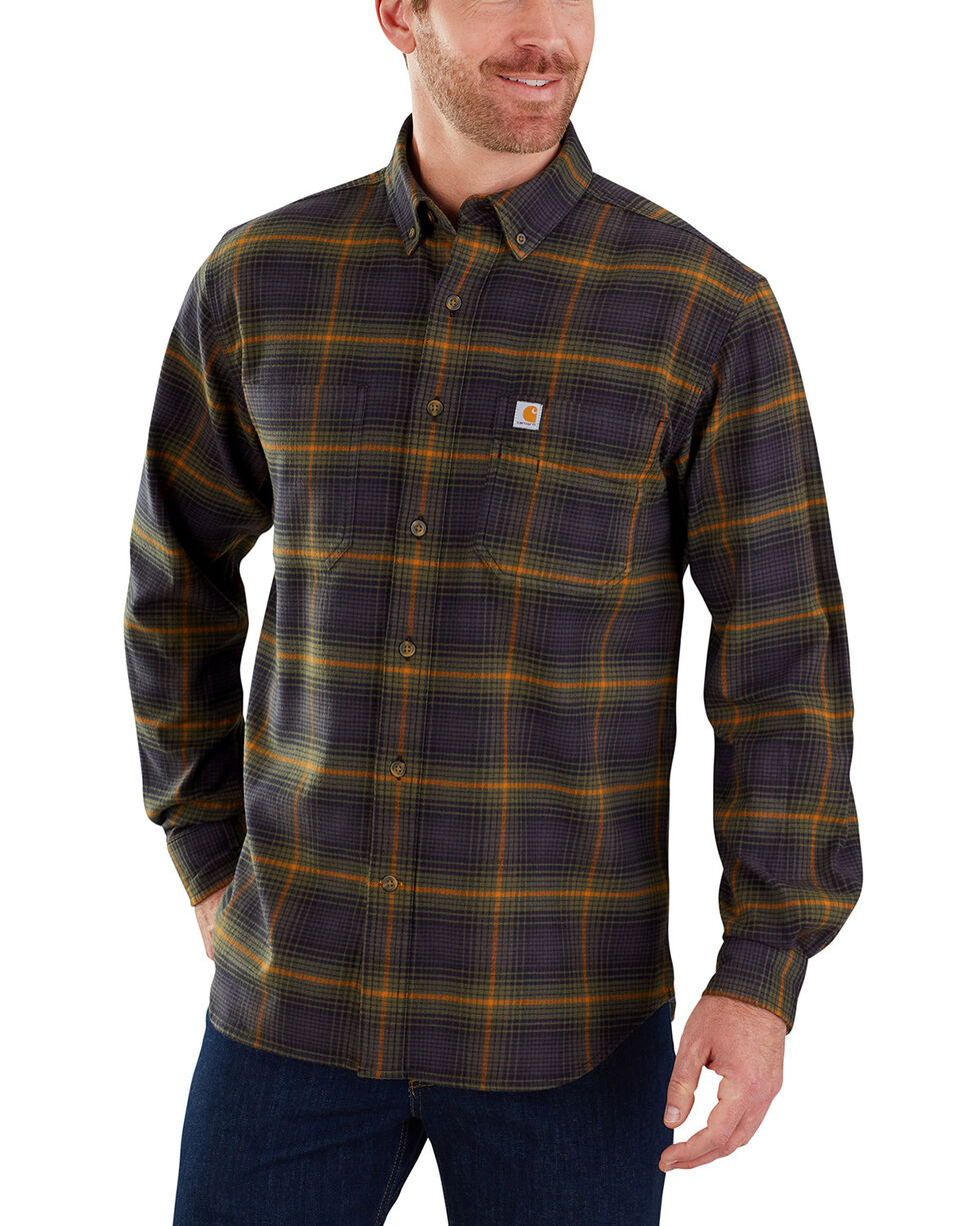 Carhartt Men's Rugged Flex Hamilton Plaid Shirt - Big & Tall, Olive, hi-res