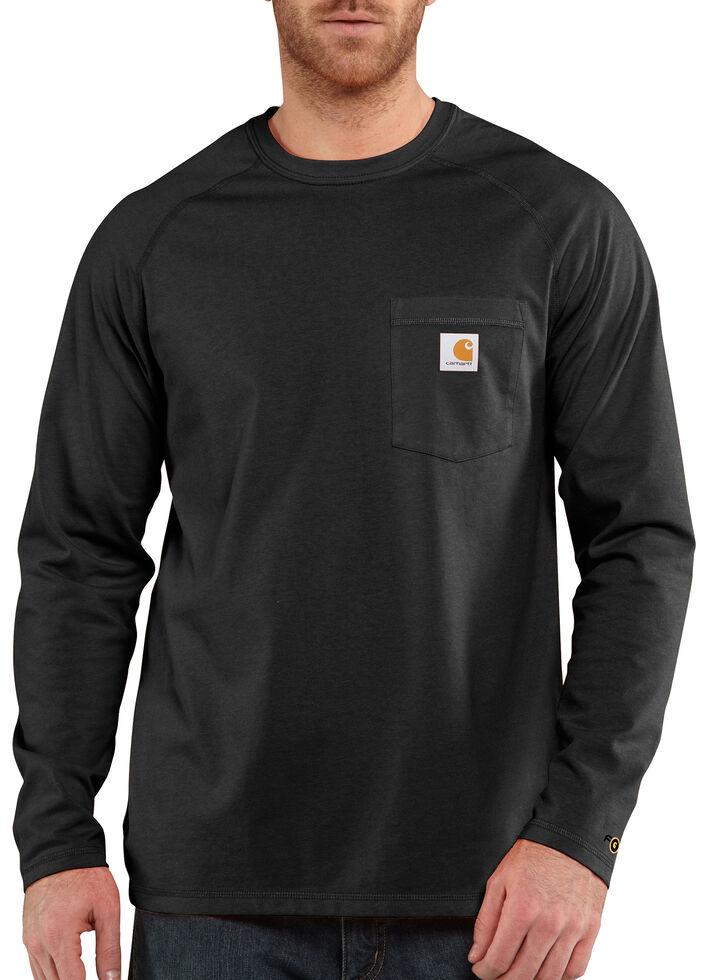 Carhartt Force Long Sleeve Work Shirt - Big & Tall, Black, hi-res