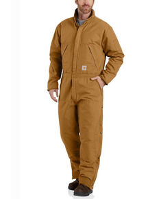 Carhartt Men's Brown M-Washed Duck Insulated Work Coveralls - Tall , Brown, hi-res