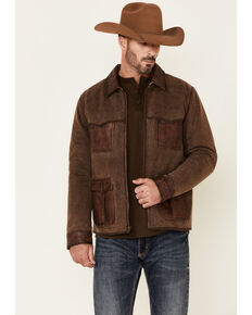 Scully Men's Brown Canvas Leather Trim Zip-Front Jacket , Brown, hi-res