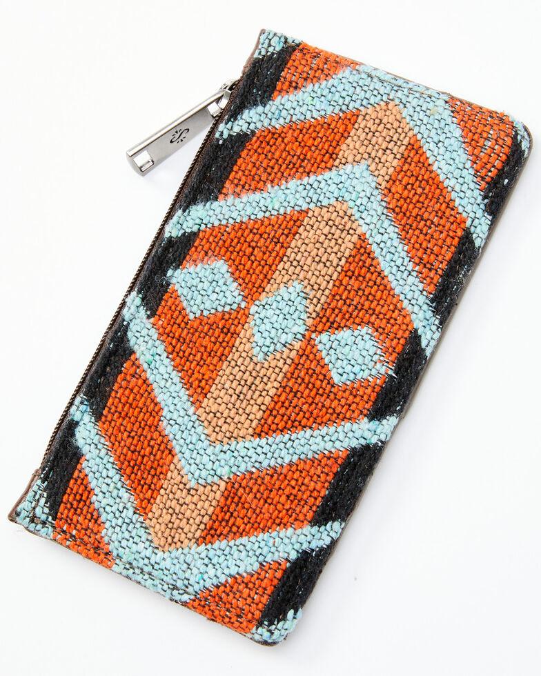 Shyanne Women's Aztec Tooled Card Holder, Brown, hi-res