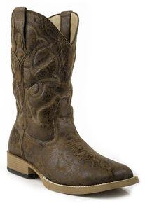 Roper Men's Distressed Broad Boots - Square Toe, Tan, hi-res