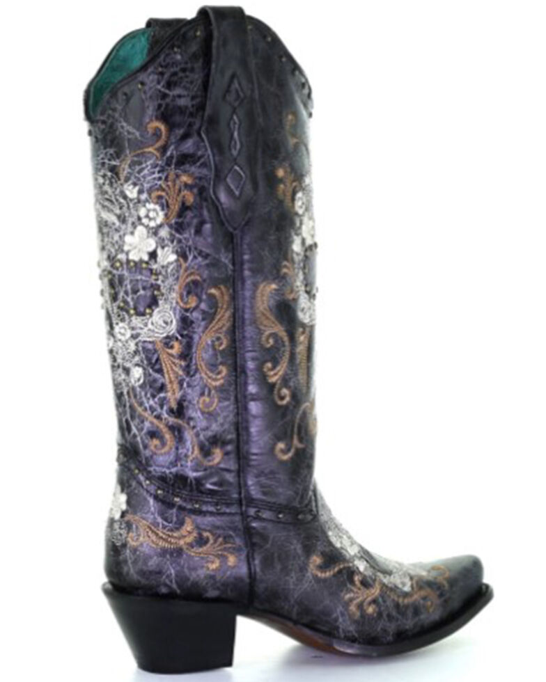 Corral Women's Floral Skull Embroidery & Studs Cowgirl Boots - Snip Toe, Black, hi-res