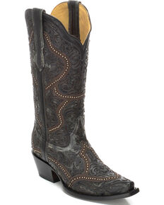 Corral Women's Full Overlay and Studs Cowgirl Boots - Snip Toe , Black, hi-res