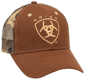 Ariat Men's Camo Mesh Ballcap, Brown, hi-res