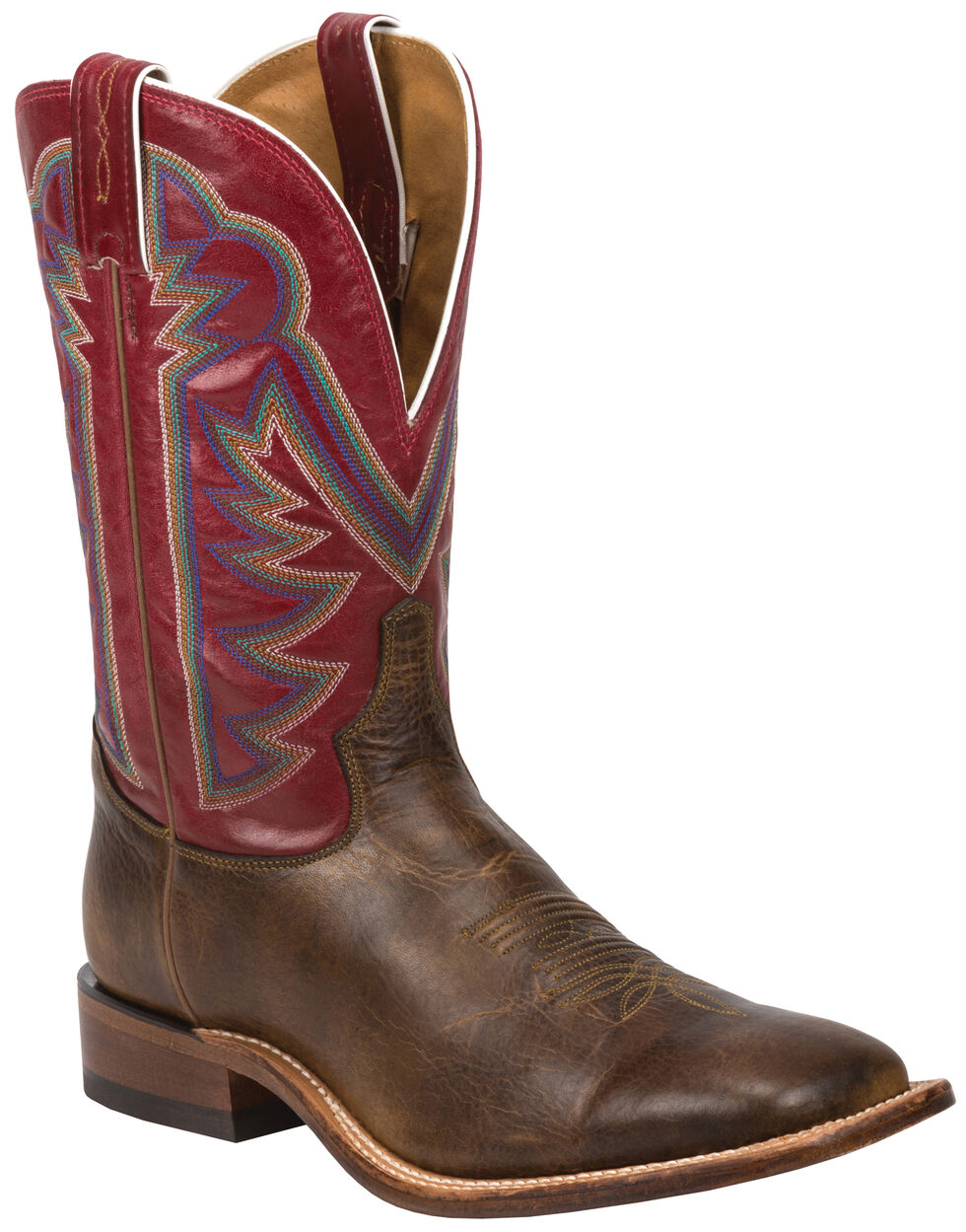 Tony Lama Tan Crush Blaze Americana Cowboy Boots - Square Toe , Tan, hi-res