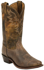 Tony Lama Tan Jaws Americana Cowboy Boots - Narrow Square Toe , Tan, hi-res