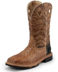 Justin Men's Derrickman Croc Print Western Work Boots - Soft Toe, Camel, hi-res