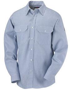 Bulwark Men's FR Mid-Weight Striped Long Sleeve Work Shirt, Blue, hi-res