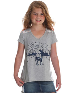 Wrangler Girls' Grey Horse and Cactus Short Sleeve Tee , Grey, hi-res