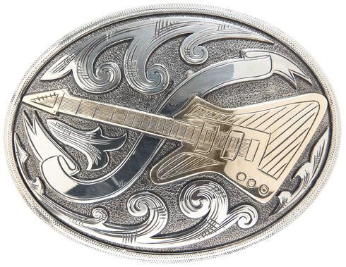 "AndWest Vintage ""El Camino"" Oval Electric Guitar Buckle , Two Tone, hi-res"