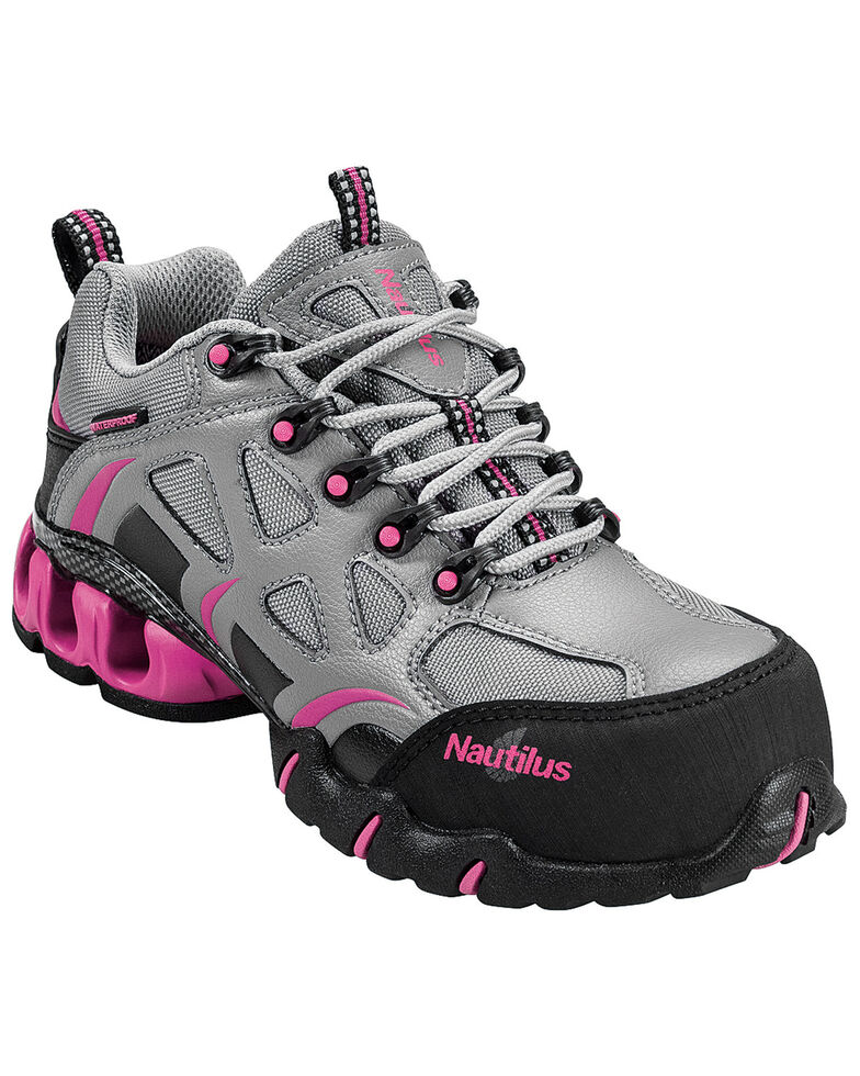 Nautilus Women's Grey and Pink Nylon Microfiber Athletic Work Shoes - Composite Toe, Grey, hi-res