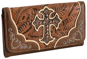 Blazin Roxx Tan Embossed Cross Wallet, Tan, hi-res