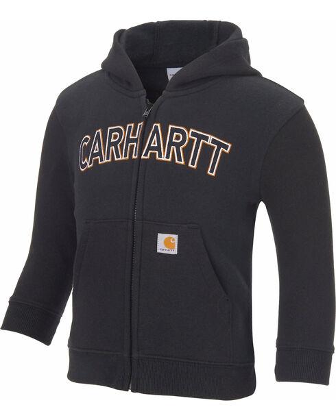 Carhartt Toddler Boys' Logo Fleece Zip Hoodie, Black, hi-res