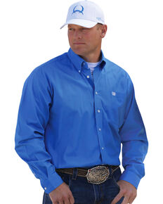 Cinch Men's Solid Blue Button-Down Western Shirt, Blue, hi-res