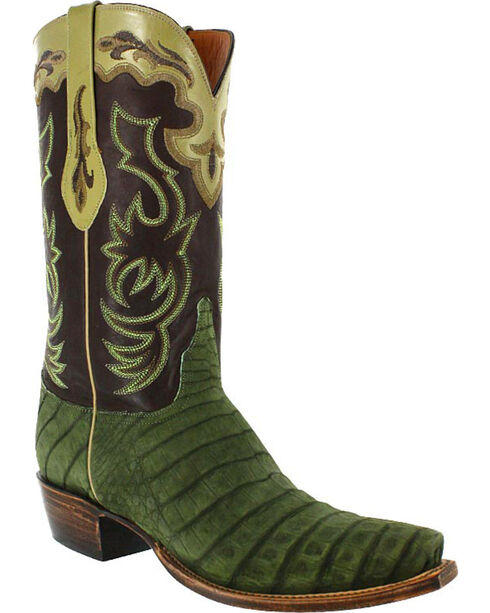 Lucchese Men's Handmade Caiman and Suede Western Boots, Olive, hi-res