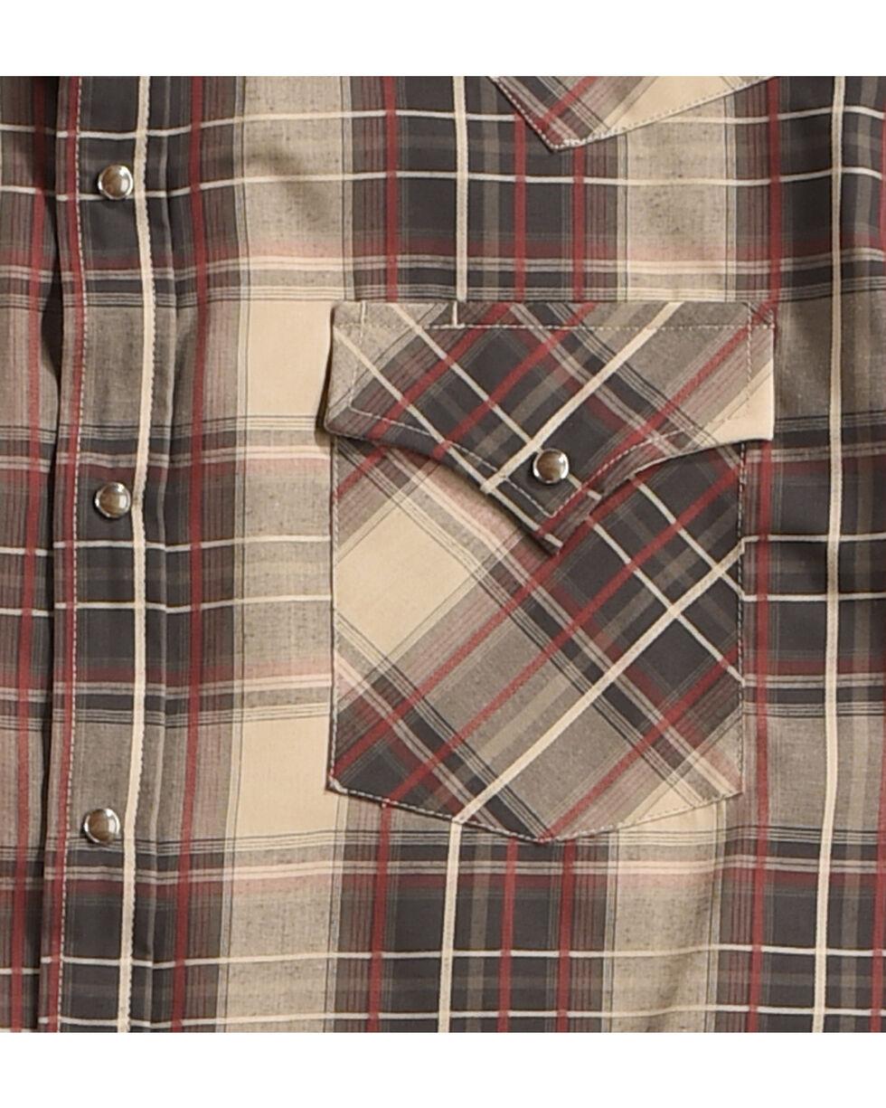 Ely Cattleman Men's Brown Textured Plaid Long Sleeve Snap Shirt, Rust Copper, hi-res