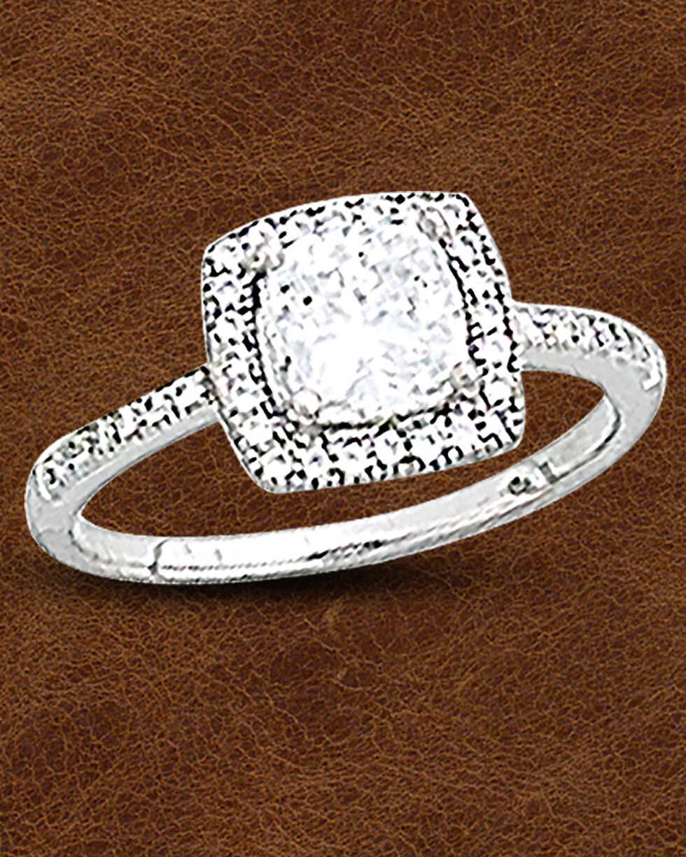 Kelly Herd Sterling Silver Square Bezel Set Pave Ring, Silver, hi-res