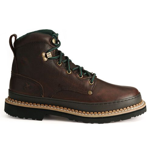 """Georgia Men's Giant 6"""" Lace-Up Work Boots - Steel Toe, Brown, hi-res"""