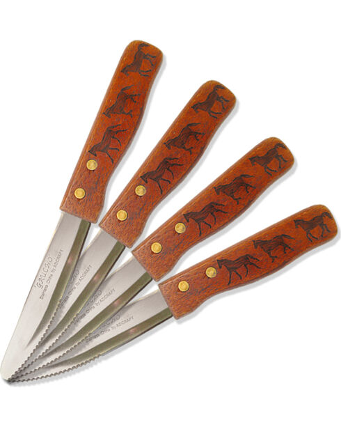 Moss Brothers Laser Engraved Three Horse Steak Knife 4-Piece Set  , Med Brown, hi-res