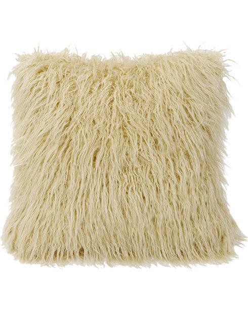 Mongolian Faux Fur Pillow, 18x18 Cream, Natural, hi-res