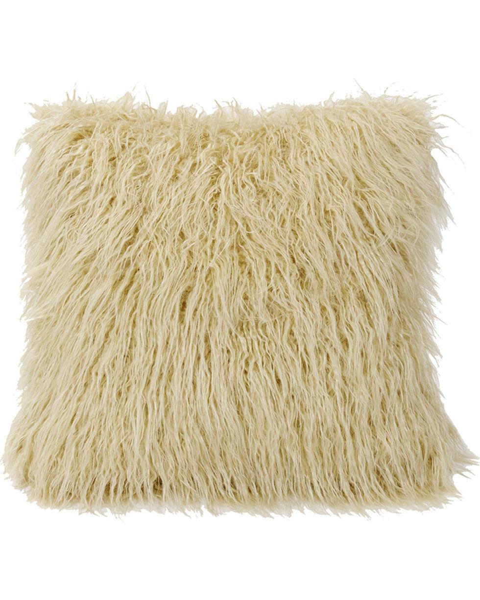 HiEnd Accents Mongolian Faux Fur Pillow, 18x18 Cream, Natural, hi-res