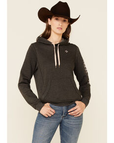 Shyanne Women's Ash Embroidered Logo Sleeve Pullover Hoodie , Ash, hi-res