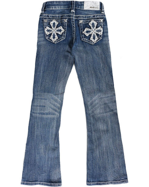 Grace in LA Girls' Blue Cross Embroidered Jeans - Boot Cut , Blue, hi-res