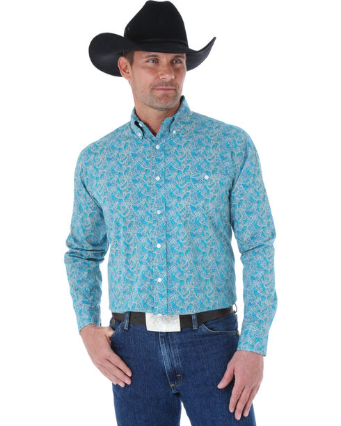 Wrangler George Strait Men's Turquoise Paisley Print Western Shirt, Turquoise, hi-res
