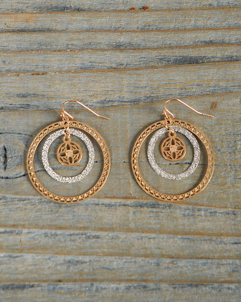 Shyanne Women's Gold and Rhinestone Hoop Earrings, Silver, hi-res
